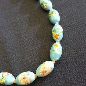 Vintage Hand Painted Porcelain Turquoise Necklace